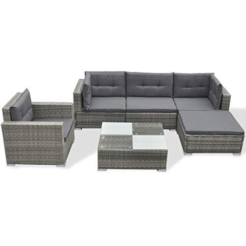 vidaXL Conjunto de Muebles de Jardín 6 Piezas Ratán Sintético Negro Juego Comedor Exterior Mesa y Sillas Patio Porche Terraza Material Estilo Mimbre