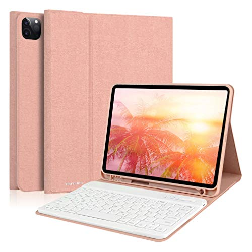 HOTLIFE Tastatur Hülle für Air 4 10.9 inch /11 Zoll 2020/2018(2./1.Generation,Bluetooth Abnehmbare Tablet Tastatur mit Deutsches QWERTZ Layout, Aufladung-Funktion für Pencil (Champagne)