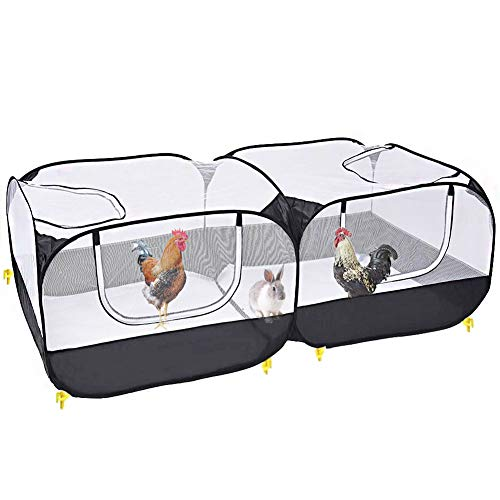 BIGCAKE Portable Chicken Run with Cover, Large Foldable Small Animals Playpen Breathable and Transparent Poultry Coop Outdoor Yard for Puppy Kitten Rabbits Duck Guinea Pigs(No Bottom)