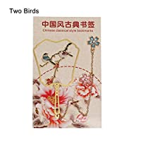 ブックマーク1ピース中国風のレトロな真鍮のページめっきブックマークブッククリップカラフルな動物ペンダント本マーカー文房具学校事務所供給 (色 : Blue Lotus)