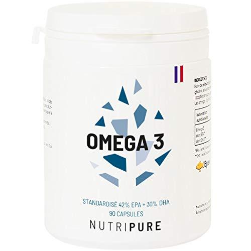 Oméga 3 3000mg • Huile de Poissons Sauvages EPAX Haute Concentration en EPA & DHA & Biodisponible • Oxydation minimale • Fish Oil • Pêche Durable • 90 gélules • Made in France • Nutripure