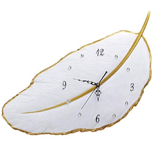 Modern large Wall Clock white Dial Non-Ticking Silent Digital wall Clock with Crystals Home Decor for Bedroom and Small Areas Space(Size:44x39cm)