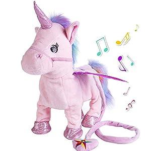 Aideal Peluche de unicornio eléctrico, juguete de que canta y camina, regalos de cumpleaños para niño y niña (rosa)