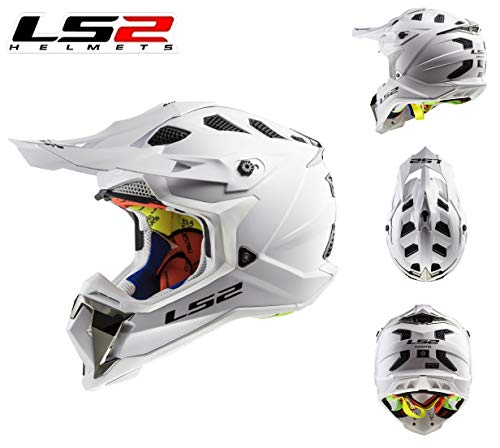 Motorrad CrossHelm LS2 MX470 Subverter Single Mono Motorradhelm Motocross Off-Road SportHelm Quad MX ATV Enduro Dirt Pit Bike Crash Rennhelm ECE Helm, White (3XL)