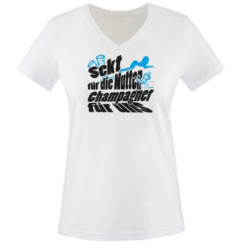 Sekt für die Nutten Campagner für Uns - Zweifarbig - Damen V-Neck T-Shirt - Weiss/Schwarz-Blau Gr. M