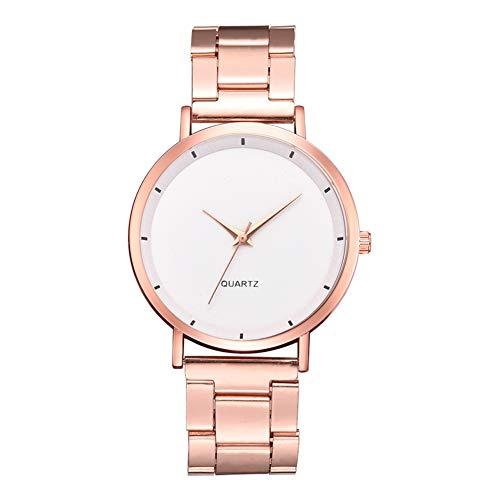 TYYW Reloj De Pulsera De Cuarzo Casual con Esfera Redonda De Estilo Simple A La Moda para Mujer, Color Blanco