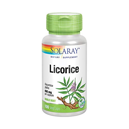 Solaray Licorice Root 450mg   Healthy Digestive System, Liver & Menopausal Support Formula   Non-GMO   Vegan   100 VegCaps