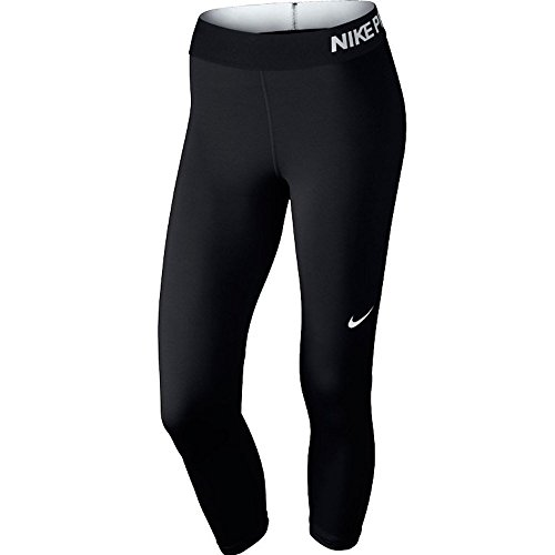 Nike Damen Trainingscaprihose PRO COOL CAPRI, Schwarz (Black/Black/White), L