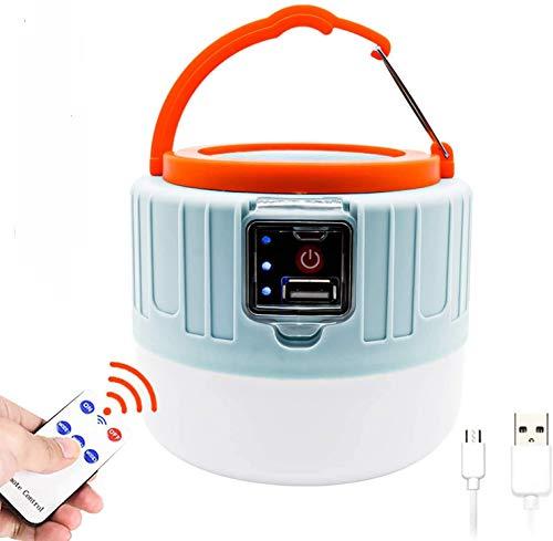 Solar LED Campinglampe, USB Wiederaufladbar LED Camping Laterne mit 1200mAh Powerbank & Fernbedienung, Tragbar mit Haken, 3 Helligkeiten Dimmbar Notfallleuchte für Stromausfällen, Wandern, Camping
