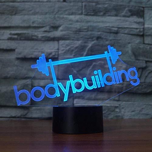 3D bodybuilding tafellamp slaapkamer decor 7 kleuren gewichtheffen nachtlicht LED slaapverlichting nachtkastje lamp ventilator geschenken