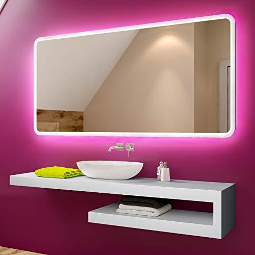 Badspiegel 100x60cm mit LED Beleuchtung - Wählen Sie Zubehör - Individuell Nach Maß - Beleuchtet Wandspiegel Lichtspiegel Badezimmerspiegel - LED Farbe zu Wählen Kaltweiß/Warmweiß L59