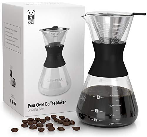 Pour Over Coffee Maker By Coffee Bear - Stainless Steel Filter - Borosilicate Glass - 20 Ounce Hand Coffee Dripper