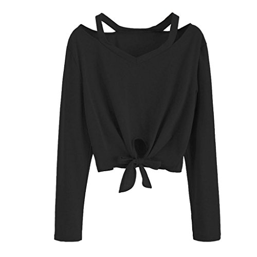 UONQD Women Hollow Out V-Neck Casual T-Shirt Blouse