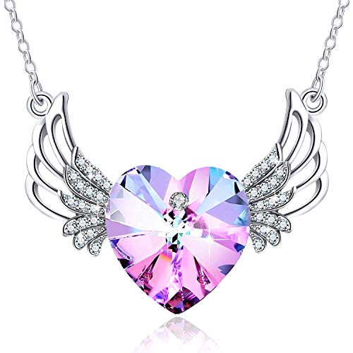 PLATO H Women Alloy Angel wing Heart Necklace Amethyst Pink Crystals for Mom Pendant Jewelry Fashion Guardian Angel Pendant of Teen Girl Mothers Day Gifts for her