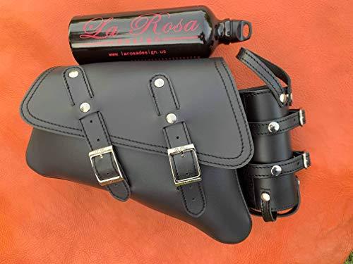 La Rosa Design 04-UP H-D Sportster Nightster 1200 Forty-Eight 72 Roadster Left Side Saddle Bag Swingarm Bag with Fuel Bottle Holder- Black Faux Leather Includes Fuel Bottle