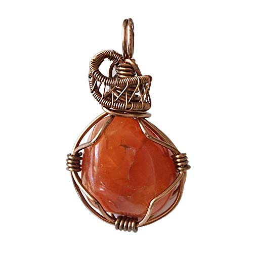 Raw Natural Red Orange Carnelian Crystal Necklace - 24 Inch Antique Bronze Unisex - Reversible Healing Pendant Gemstone - Mother Day Gift - Gift for Mom - With Gift Box