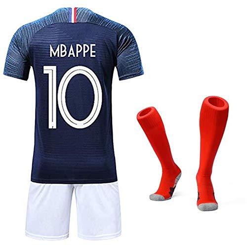 Garçon Ensemble de Vêtements de Sport T-Shirt et Short Coupe du Monde France 2 étoiles Football (Bleu T-Shirt&Short&Chaussettes, 22)