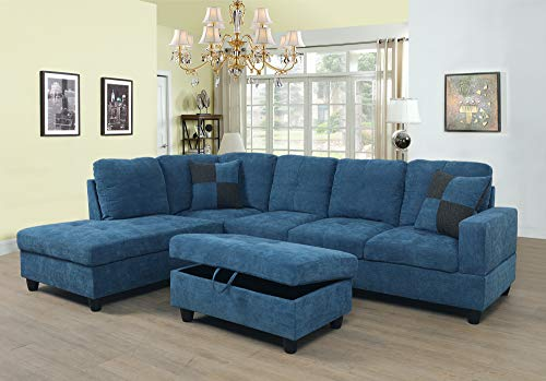 Ainehome Linen 3 Piece Sectional Sofa Couch Set, L-Shaped Modern Sofa with Chaise Storage Ottoman and Pillows, Hangers for Living Room Furniture, Left Hand Facing Sectional Sofa Set Lake Blue