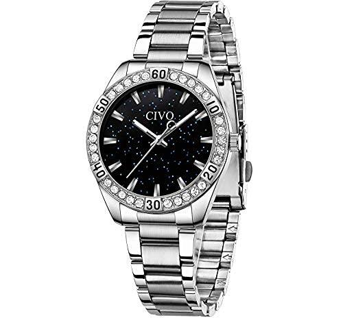 Relojes de mujer con diamantes impermeables para mujer, reloj de vestir de acero inoxidable, diseño de lujo, analógico, elegante muñeca para niñas