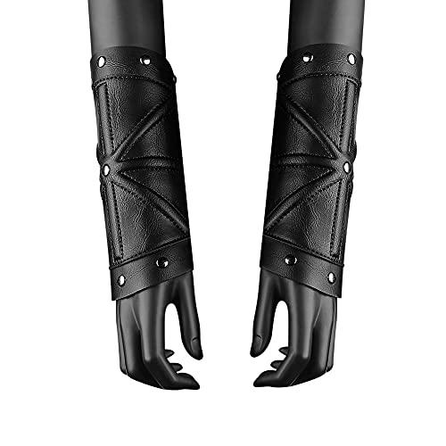 ZJJ 1 Par Medieval Steampunk PU Cuero Guantelete Pulsera Ajustable Antebrazo Brazalete Vambrace Protector De Brazo De Disfraz De Cosplay para Mujeres Y Hombres