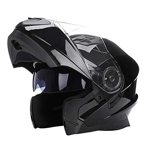 Woljay Klapphelm Integralhelm Rennen Offroad-Helm Motorradhelm (XXL, Glas Schwarz)