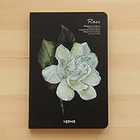 【Deli】 モダンな 美しい 白い 花 イラスト 金縁の 側面 ノート A5サイズ (薔薇) [並行輸入品]