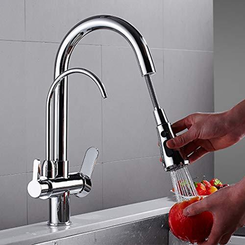 Grifo de cocina de 3 vías, agua potable, agua caliente y fría, grifo 3 en 1, grifo de cocina, sistema de filtro, grifo para fregadero de cocina
