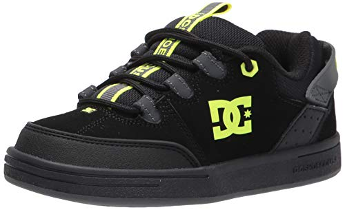 DC boys Syntax Skate Shoe, Black/Grey/Yellow, 5 Big Kid US