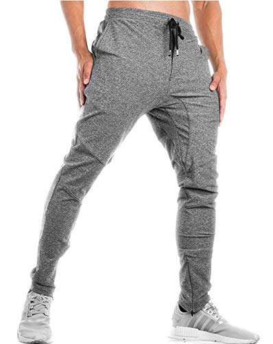 TBMPOY Men's Basic Warm Up Pants Performance Jersey Soccer Pants for Men(Light Grey,US L)