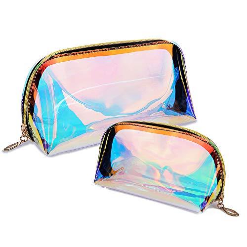 2 Piezas Bolsas de Aseo, TPU Transparente Iridiscente de Gran Capacidad Bolsa de Maquillaje, Bolsa de Maquillaje Holográfica Organizador para Mujeres Impermeable