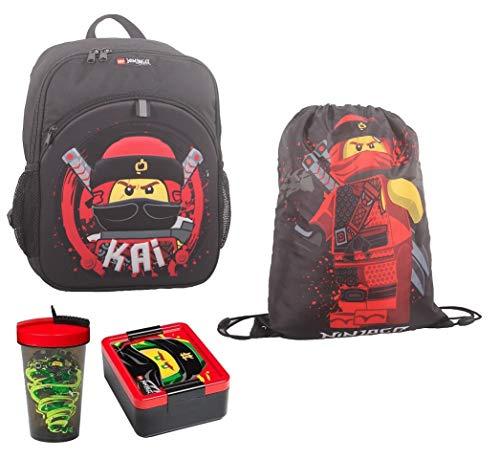 Familando Lego Ninjago - Juego de mochila (4 piezas, incluye bolsa de deporte, fiambrera y botella, por ejemplo, para la guardería (kai ninja rojo)