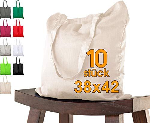 Baumwolltasche 38x42 cm 10 Stück Natur unbedruckt, lange Henkel Stofftasche Tragetasche, Beutel, Baumwollbeutel, Jutebeutel OEKO-TEX® zertifiziert Stoffbeutel Einkaufsbeutel Einkaufstasche zum bemalen