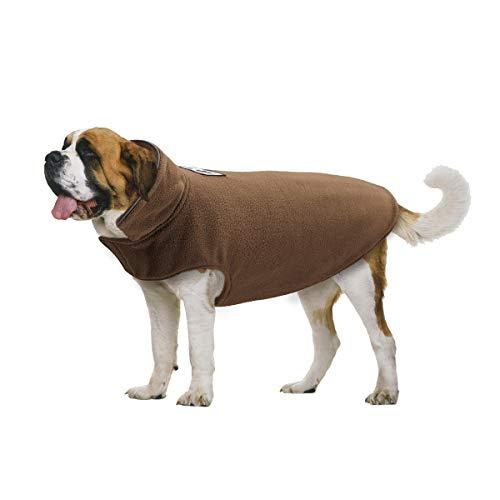 TFENG Hundejacke für Hunde, Wasserdicht Hundemantel gepolstert Puffer Weste Welpen (Braun, Größe 2XL)