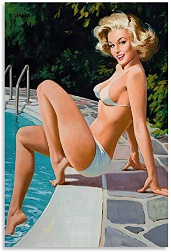 GQJXUANYU 5d DIY Diamond Painting Kit Ragazza Pinup bionda Sexy Diamond Painting Adulti O Bambini Ricamo Punto Croce 7.8'x11.8'(20x30cm) Senza Cornice