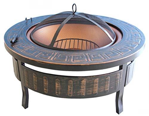 Auoeer Retro Gran Pozo de Fuego, Cobre Antiguo de Hierro Fundido Brasero Calentador, Multifuncional Camping Tazón Barbacoa, for de Interior al Aire Libre Jardín Patio Parrilla de carbón de Madera