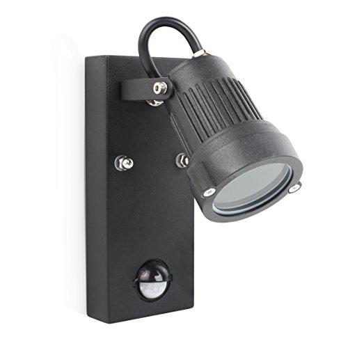 Smartwares Retro buitenlamp/wandspot met instelbare bewegingssensor, aluminium, 20 W, zwart, 7 x 10 x 16,2 cm