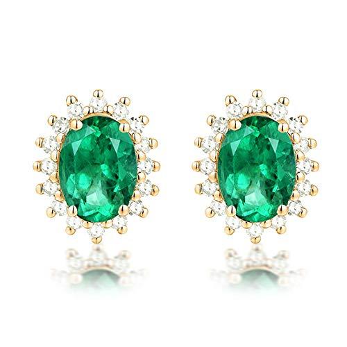Daesar Orecchini Oro 18Kt (750) 2.3ct Smeraldo Verde Ovale con Diamante Orecchini Oro Donnaorecchini Dorati Eleganti
