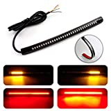 LivTee Waterproof 8' Motorcycle LED Light Strip Tail Brake Stop Turn Signal Lights for Motorbike Scooter Quad Cruiser Harley Kawasaki Yamaha Suzuki Off Road, Red/Amber