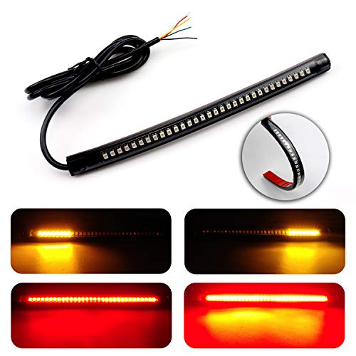 LivTee Universal 8' Flexible LED Light Strip with Tail Brake Stop Turn Signal Lights All-in-one for Motorcycle Scooter Quad Cruiser Harley Kawasaki Yamaha Suzuki Off Road, Red/Amber