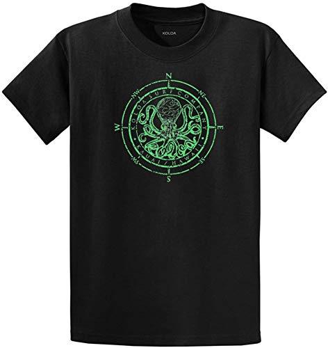 Joe's USA Koloa Surf Octopus Logo Mens Heavy Cotton T-Shirt-Black/Green-4XL
