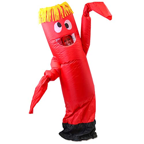 Spooktacular Creations Inflatable Costume Air Tube Dancer Wacky Waiving Arm Flailing Halloween Costume Adult Size Red