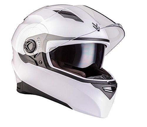 ARMOR Helmets AF-77 Integral-Helm, ECE Sonnenvisier Schnellverschluss Tasche, XS (53-54cm), Glänzend Weiß