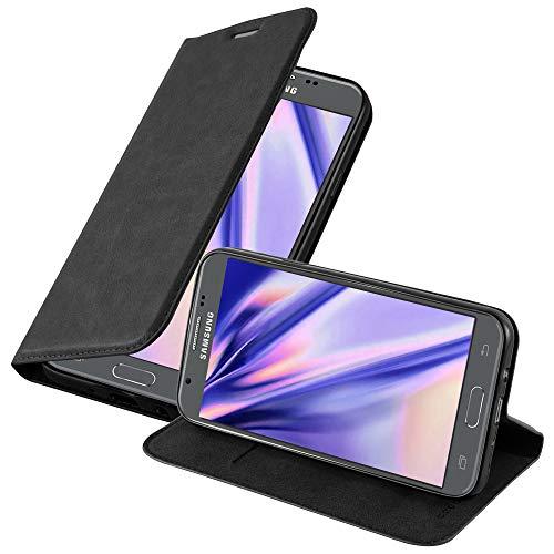 Cadorabo Custodia Libro per Samsung Galaxy J5 2017 in NERO DI NOTTE - con Vani di Carte, Funzione Stand e Chiusura Magnetica - Portafoglio Cover Case Wallet Book Etui Protezione