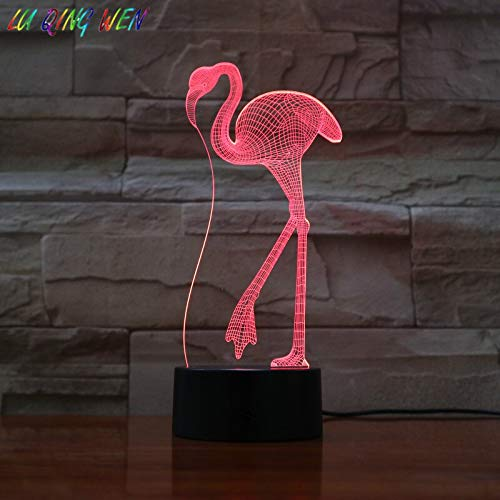 Animal 3D LED Lámpara de mesa Regalo para niños Luz de noche Flamingo Usb Bird Light Decoración de la habitación Baby Night Light Birthday Bedside