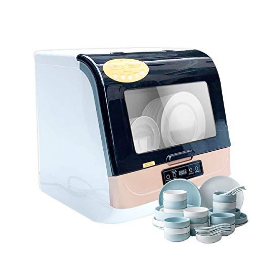 TABODD Lavavajillas portátil de 800 W, 4 modos de lavado, miniventilador de mesa con manguera de entrada/salida, ahorro de energía y agua para vajillas, cuencos y cristalería