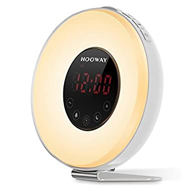 HOOWAY Wake Up Light Alarm Clock, Sunrise Alarm Clock with FM Radio & Snooze Function For Adults & Kids,Loud Sound for Heavy Sleepers,7 Colors Changing Used for Night Light/Mood Light