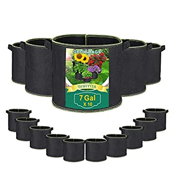 TOMVYTER 7 Gallon Grow Bags 10 Pack Smart Planting Pots Aeration Fabric Pots 300G Thickened Non-Woven Plant Grow Bag with Handles