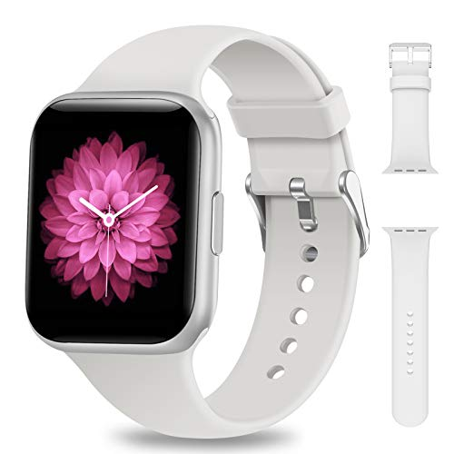 NAIXUES Smartwatch, Reloj Inteligente IP68 para Mujer Hombre, Reloj Deportivo con Monitor de Sueño Pulsómetro Podómetro Notifica Whatsapp, Pulsera Actividad Inteligente para Android iOS (Blanco)