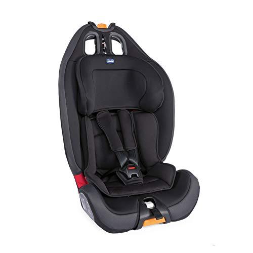 Chicco Gro-Up 123 Silla Coche Reclinable Bebé de 9-36 kg, Grupo 1/2/3 para Niños de 9 Meses a 12 Años, Fácil Instalar, Reposacabezas Ajustables, Relleno para Bebés, Acolchado Suave - Negra (Jet Black)