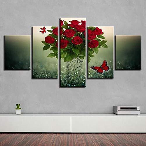 BDFDF Cuadro sobre Lienzo - 5 Piezas - Impresión En Lien Mariposa Roja Y Flor Rosa Roja 5 Piezas Imágenes Pared Decoración De Dormitorio Modular Regalos De Cumpleaños De Navidad